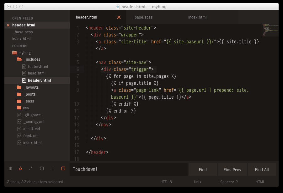 Screenshot of Theme Curiosity (Sublime Text 2)