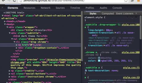 Dracula for Chrome for Chrome Developer Tools Thumb